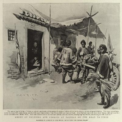 Group of Soldiers and Coolies at Palikao on the Road to Pekin-Charles Edwin Fripp-Giclee Print