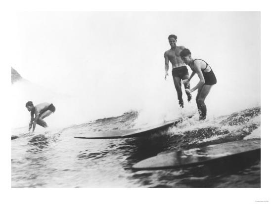 Group of Surfers in Honolulu, Hawaii Surfing Photograph - Honolulu, HI-Lantern Press-Art Print