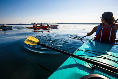 Group Of Tandem Kayaker Enjoy The Still Waters Of Indian Cove Off Shaw Islands-Ben Herndon-Photographic Print