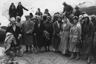 Group of Tourists Visiting Svartisen, Northern Norway, 1929--Photographic Print