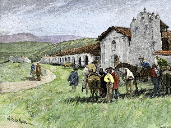 Group of Vaqueros Outside Santa Inez Mission in California, 1800s--Giclee Print