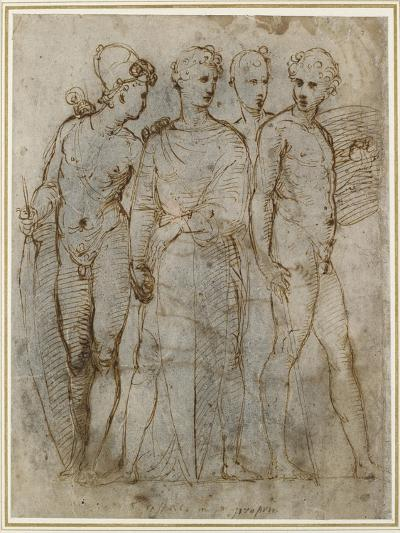 Group of Warriors (Donatello's St George at Orsanmichele in the Centre) (Pen and Brown Ink on White-Raphael-Giclee Print