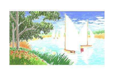 Group of White Sailboats on Small Lake Next to Trees--Art Print