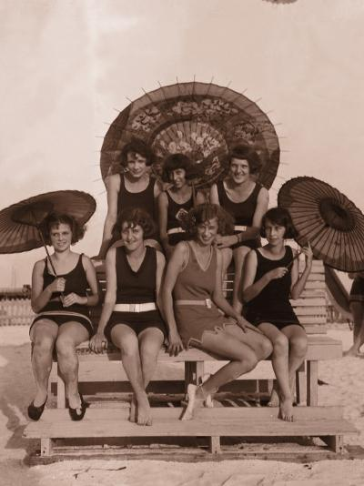 Group of Women in Bathing Suits With Parasols on Bench, 1930's--Photographic Print