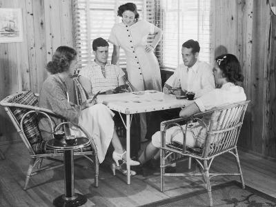 Group of Young People Playing Cards--Photographic Print