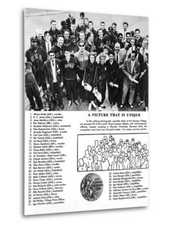 Group Photograph of 39 Athletes and Winners of 40 Gold Medals at the 1956 Melbourne Olympics