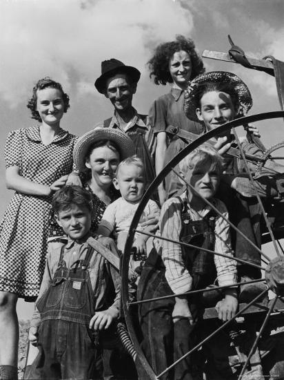 Group Portrait of a Farmer and His Family-Alfred Eisenstaedt-Photographic Print