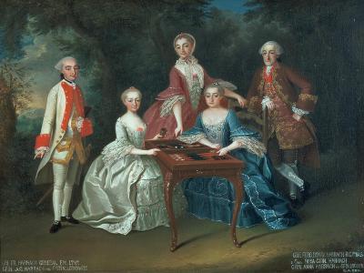 Group Portrait of the Harrach Family Playing Backgammon Including General Count Ferdinand Harrach-Johann Wilhelm Hoffnas-Giclee Print