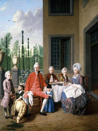 Group Portrait of the Van Den Bosch Family, Dining by a House, a Topiary Garden Beyond, 1777-Jan Josef the Younger Horemans-Giclee Print