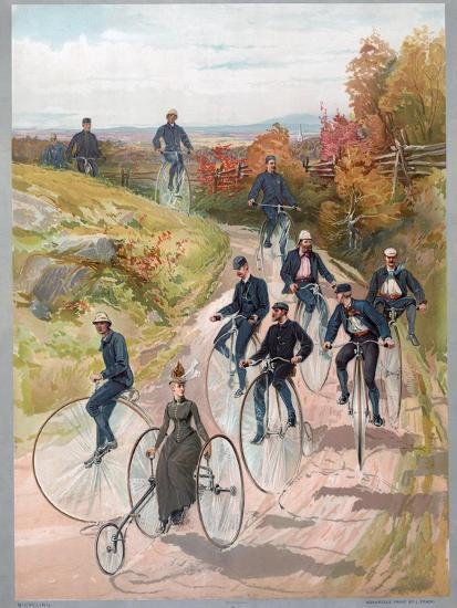 Group Riding Penny-Farthing Bicycles, 1887--Giclee Print