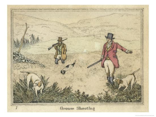 Grouse, Two Men and Their Dogs Walk up a Moor Hoping to Start up Some Grouse-Henry Thomas Alken-Giclee Print