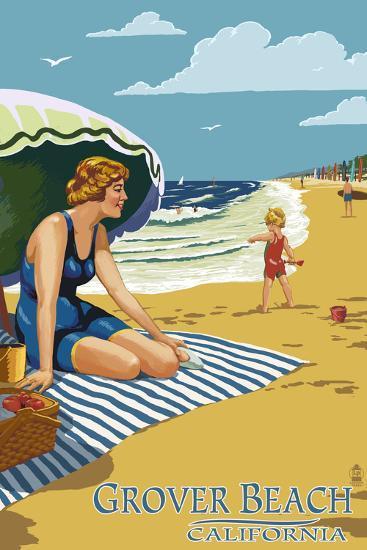 Grover Beach, California Beach Scene-Lantern Press-Art Print