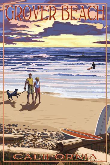 Grover Beach, California - Sunset Beach Scene-Lantern Press-Art Print