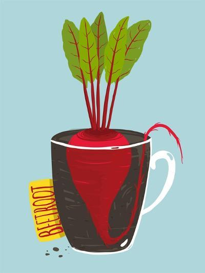 Growing Beetroot with Green Leafy Top in Mug. Vegetable Container Gardening Illustration. Layered V-Popmarleo-Art Print