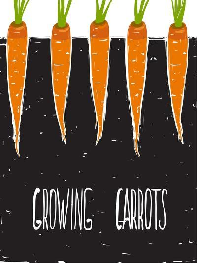 Growing Carrots Freehand Drawing and Lettering. Bed of Carrots Scribble Illustration. Vector Eps8.-Popmarleo-Art Print
