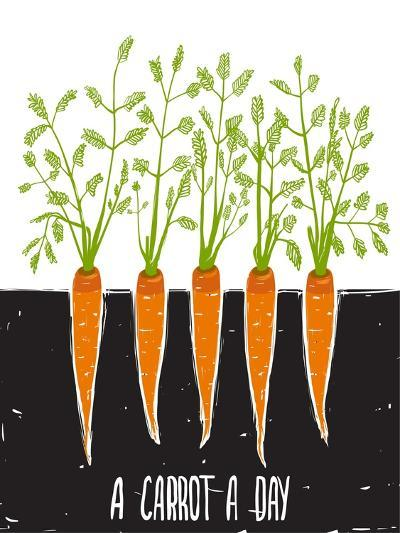 Growing Carrots Scratchy Drawing and Lettering. Raster Variant.-Popmarleo-Art Print