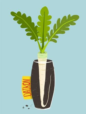 Growing Daikon Radish with Green Leafy Top in Vase. Root Vegetable on meat printing, 4d printing, 3d printers printing, 3d home printing, pumpkin printing, full color printing, tampon printing,