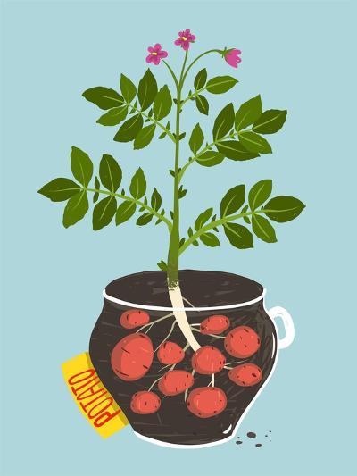 Growing Potato with Green Leafy Top in Pot. Vegetable Container Gardening Illustration. Raster Vari-Popmarleo-Art Print