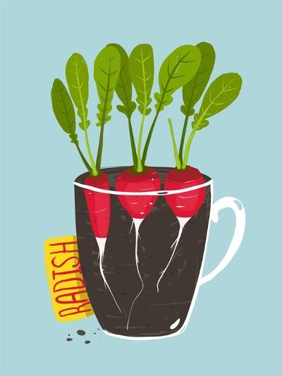Growing Radish with Green Leafy Top in Pot. Root Vegetable Container Gardening Illustration. Layere-Popmarleo-Art Print