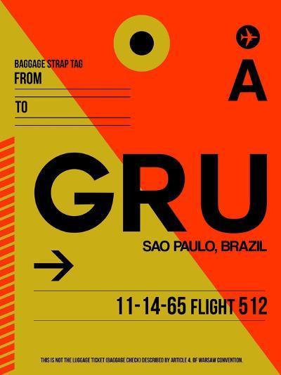 GRU Sao Paulo Luggage Tag II-NaxArt-Art Print