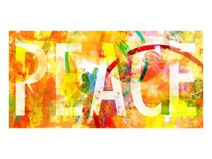 Grunge Collage With Peace Typo