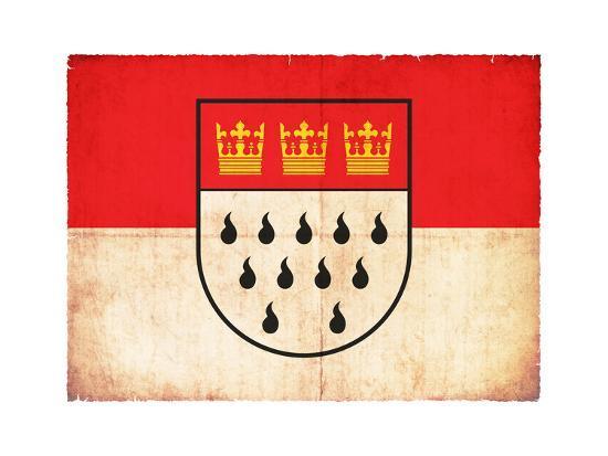 Grunge Flag Of Cologne (North Rhine-Westphalia, Germany)-cmfotoworks-Art Print