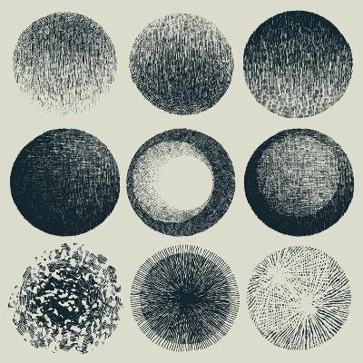 Grunge Halftone Drawing Textures Set. Vector Illustration-jumpingsack-Art Print