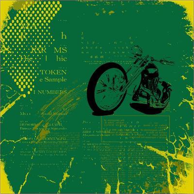 Grunge Motorcycle Background Vector-elanur us-Art Print