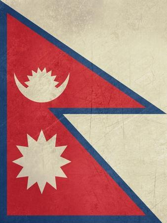 Grunge Sovereign State Flag Of Country Of Nepal In Official Colors-Speedfighter-Art Print