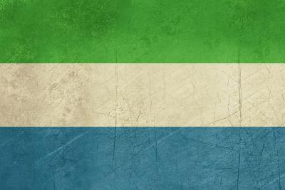 Grunge Sovereign State Flag Of Country Of Sierra Leone In Official Colors-Speedfighter-Art Print