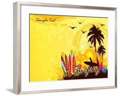 Grunge Surfer Poster / Tropical Background with Surfer- Orgus88-Framed Art Print