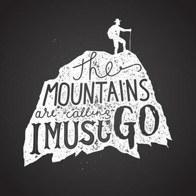 Mountains Calling Label. Hiker Silhouette Lettering Chalk on Board. Vector Illustration by grytz