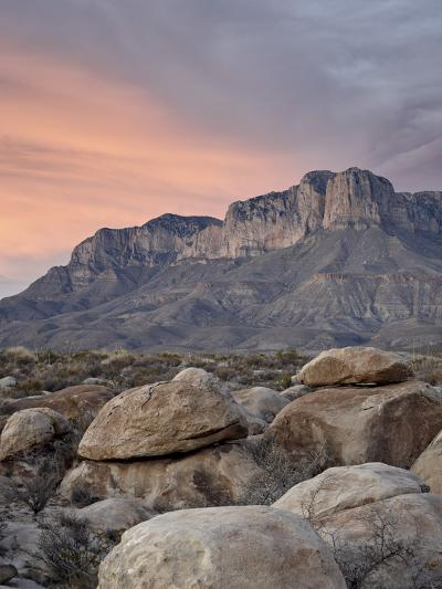 Guadalupe Peak and El Capitan at Sunset, Guadalupe Mountains National Park, Texas, USA-James Hager-Photographic Print