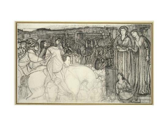 Gualdrada Donati Presenting Her Daughter to Buondelmente (Pen and Black Ink with Graphite on White -Edward Burne-Jones-Premium Giclee Print