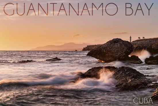 Guantanamo Bay, Cuba - Golden Pink Sky and Ocean-Lantern Press-Wall Mural