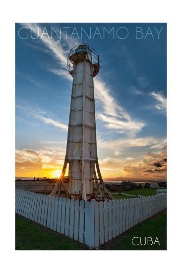 Guantanamo Bay, Cuba - Sunset and Lighthouse-Lantern Press-Art Print