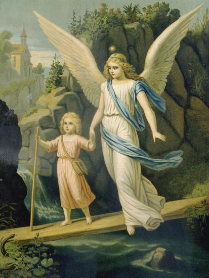 Guardian Angel Accompanying A Child Over A Bridge About 1900 Giclee