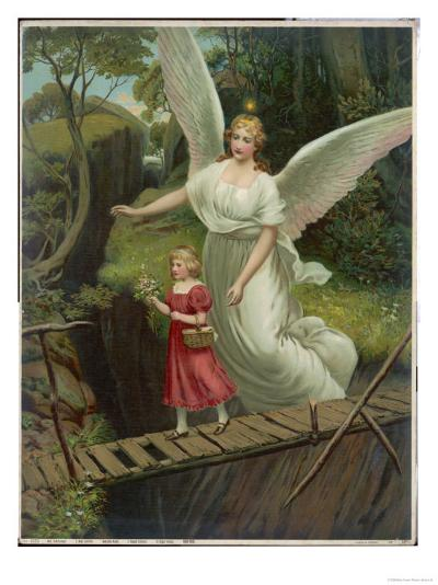 Guardian Angel Watches Over a Child as She Crosses a Dangerous Bridge--Giclee Print
