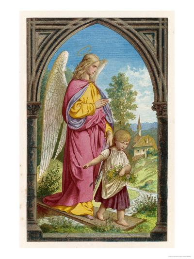 Guardian Angel Watches Over a Small Child as It Gathers Flowers in the German Countryside--Giclee Print