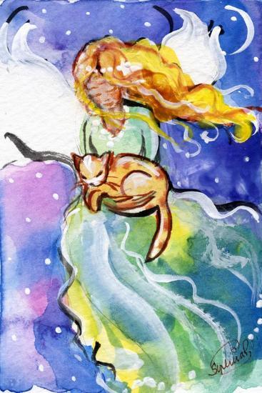 Guardian Angel with Cat-sylvia pimental-Art Print