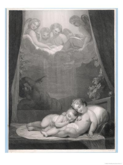 Guardian Angels Watch Over Two Babies Thwarting the Evil One-W.h. Mote-Giclee Print