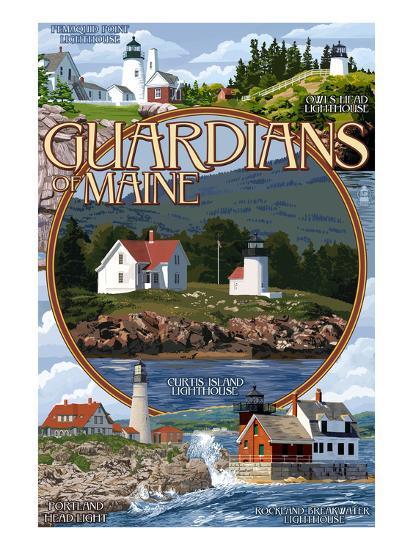 Guardians of Maine - Curtis Island Center-Lantern Press-Art Print