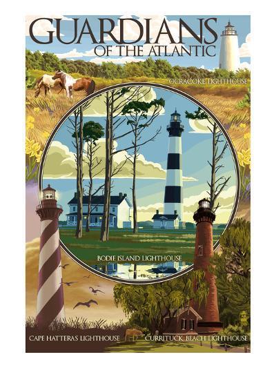 Guardians of the Atlantic Lighthouses - Outer Banks, North Carolina-Lantern Press-Art Print