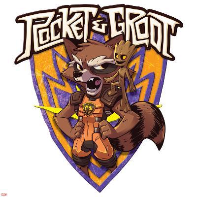 Guardians of the Galaxy Badge Art Featuring: Rocket Raccoon, Groot--Art Print