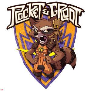 Guardians of the Galaxy Badge Art Featuring: Rocket Raccoon, Groot