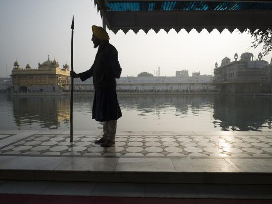 Guards at Golden Temple in Amritsar, Punjab, India-David H^ Wells-Photographic Print