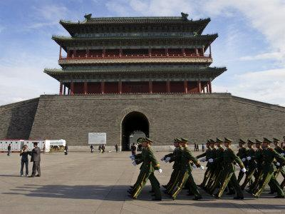 Guards March Past Qianmen Gate, Tiananmen Square, Beijing, China-Andrew Mcconnell-Photographic Print