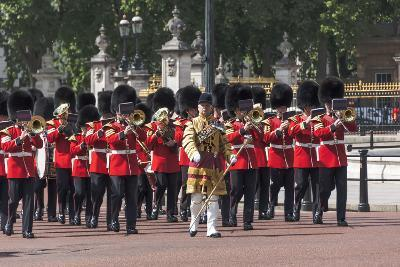 Guards Military Band Marching Past Buckingham Palace En Route to the Trooping of the Colour-James Emmerson-Photographic Print