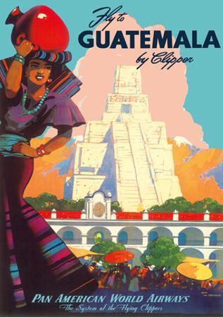 Guatemala by Clipper - Pan American World Airways - Tikal Mayan
