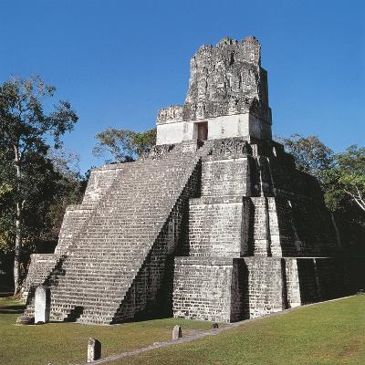 Guatemala, El Peten, Archaeological Site, Tikal National Park, Temple of the Masks or Moon--Giclee Print